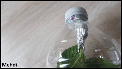 ici du sopalin roulé en boule est bien calé au niveau de la tige et du bouchon afin d'éviter que tout ne bouge pendant le transport